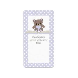 Purple Baby Teddy Bear & Book Gift Bookplate Label