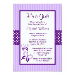 Purple Butterfly Stripes and Dots Baby Shower