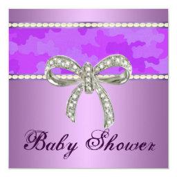 Purple Camo Diamond Bow Baby Shower
