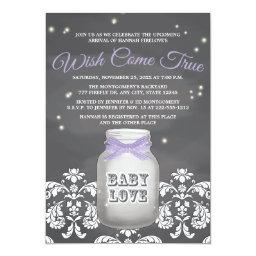 Purple Chalkboard Firefly Mason Jar Baby Shower