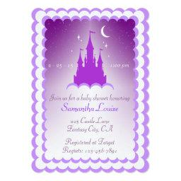 Purple Dreamy Castle In The Clouds Baby Shower