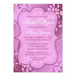 Purple Floral Swirl Baby or  Invite
