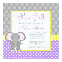 Purple Gray Yellow Elephant Girl Baby Shower
