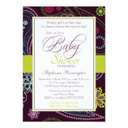 Purple lime floral paisley baby shower