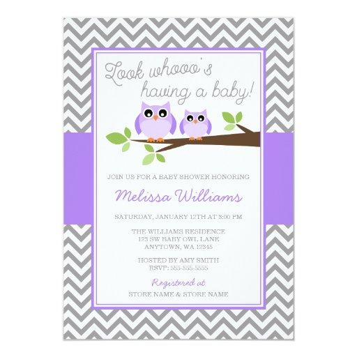 Purple Owl Gray Chevron Girl