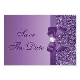 Purple Printed Sequins Baby Shower Save the Date