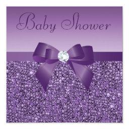 Purple Printed Sequins Bow & Diamond Baby Shower