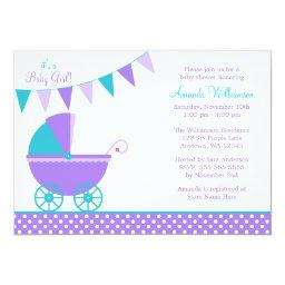 Purple Teal Bunting Carriage Girl Baby Shower