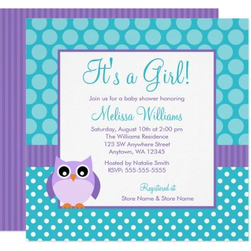 Purple Teal Owl Polka Dot Girl