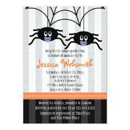 Purple Twins Spider Halloween Baby Shower Invites