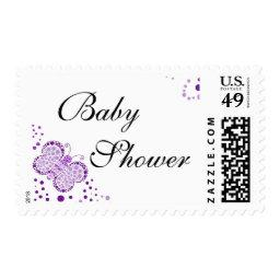 Purple & White Butterfly Elegant  Postage