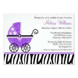 Purple Zebra Carriage Girl Baby Shower