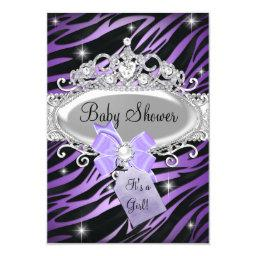 Purple Zebra Print & Princess Tiara Baby Shower