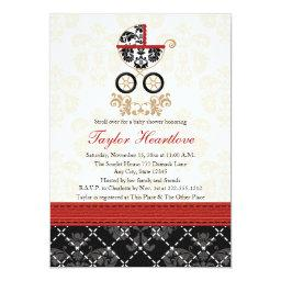 RED AND BLACK DAMASK BABY CARRIAGE