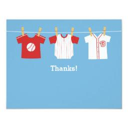 Red Baseball baby boy shower Thank You Note