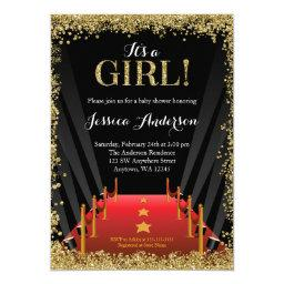 Red Carpet Hollywood Faux Glitter Girl Baby Shower