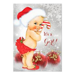 Red Gold Bauble Christmas Baby Shower Blonde