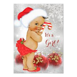 Red Gold Bauble Christmas Baby Shower Brunette