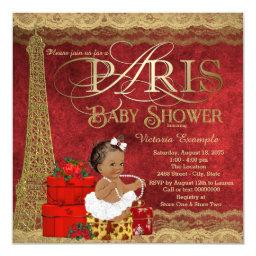 Red Gold Paris Ethnic Girl Baby Shower