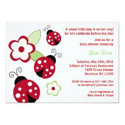 Red Ladybug Flower Custom Baby Shower