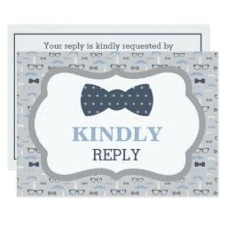 Reply , RSVP , Bow Tie, Blue, Gray