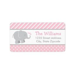 Return Address Labels | Elephant Pink and Gray