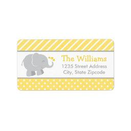 Return Address Labels | Elephant Yellow Gray