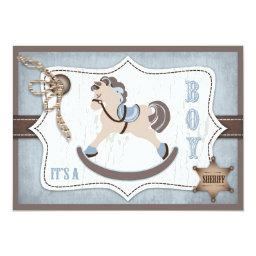 Rocking Horse Cowboy Baby Shower Blue