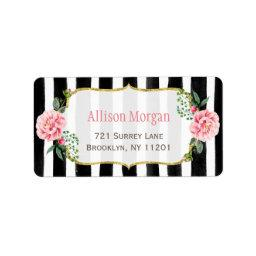 Romantic Floral Gold Glitter Black White Stripes Label