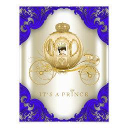 Royal Blue and Gold Carriage Prince Baby Shower