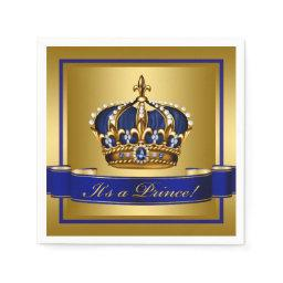 Royal Blue and Gold Crown Baby Shower Napkin