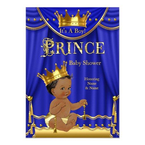 baby shower royal blue crown prince baby shower gold ethnic card