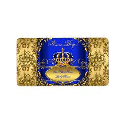 Royal Blue Damask Gold Crown  Boy RB3 Label