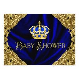 Royal Blue Gold Crown Baby Shower