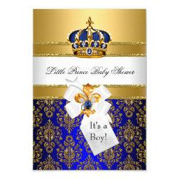 Royal Blue Little Prince Crown  Invite