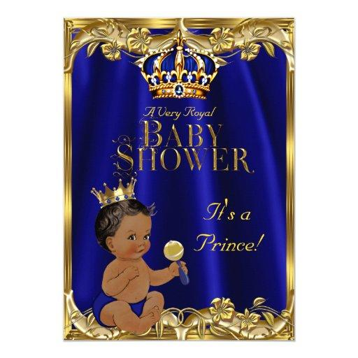 baby shower royal blue navy gold prince baby shower ethnic card