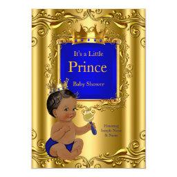 Royal Blue Prince Baby Shower Gold Crown Ethnic