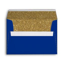 Royal or Navy Blue & Gold Glitter Lined Envelope