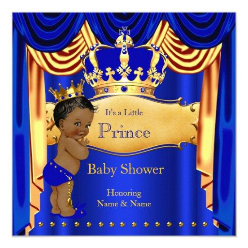 baby shower royal prince baby shower blue gold crown ethnic card