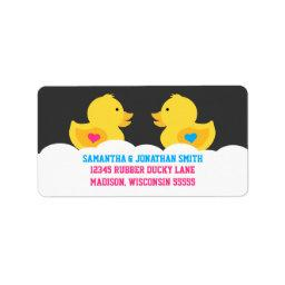 Rubber Ducky Pink or Blue Gender Reveal Party Label