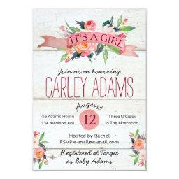 Rustic Adorned with Floral | Baby Shower Invite