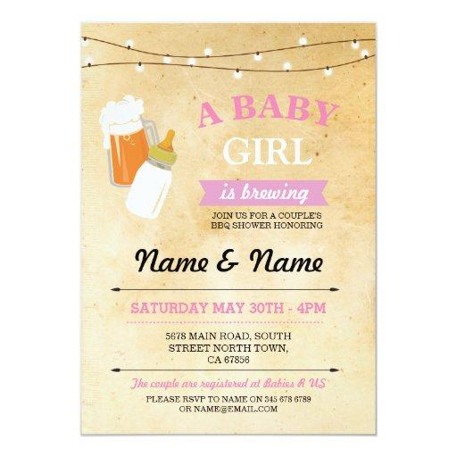 Rustic  Girl Brewing Pink BBQ Invite