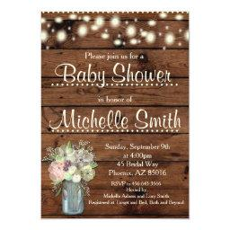 Rustic  Invitation, Mason Jar, Floral