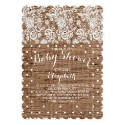 Rustic Burlap Lace Neutral Baby Shower