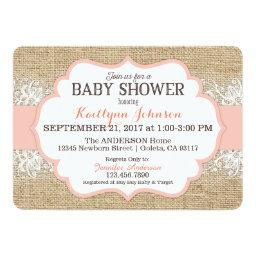 Rustic Burlap Modern Lace Coral Girl Baby Shower