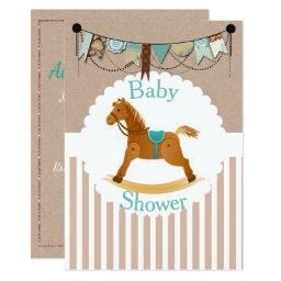 Rustic Cowboy Rocking Horse Western Baby Shower