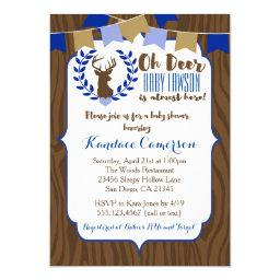 Rustic Deer Buck Baby Shower Invitation, Boy Blue