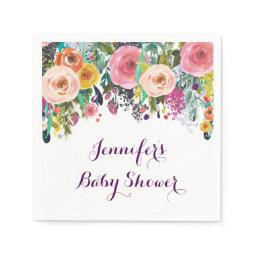 Rustic Floral Baby Shower Napkin
