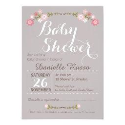 Rustic Floral Girls Baby Shower