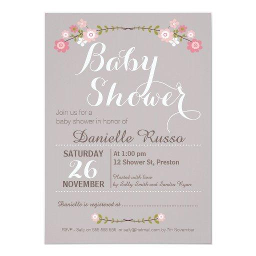 baby shower rustic floral girls baby shower invitation
